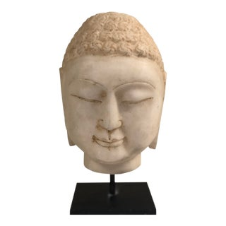 Large Scale Marble Buddha Head Bust For Sale