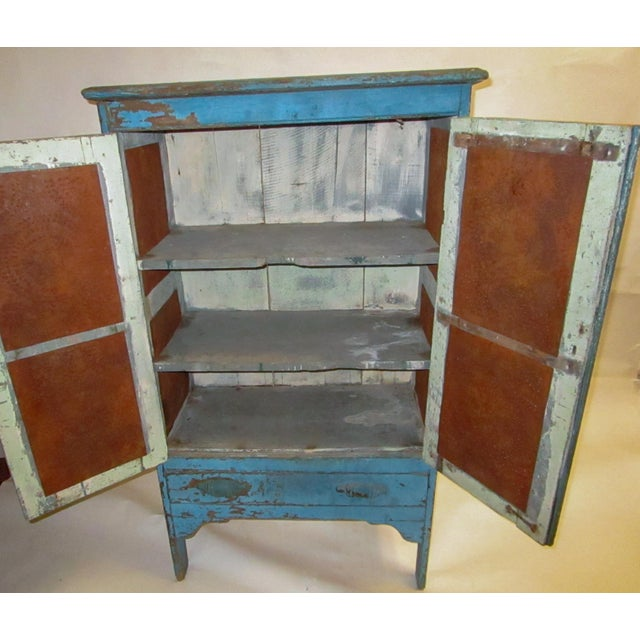 Late 19th Century 19th Century American Primitive Southern Pie Safe With Distressed Blue Paint For Sale - Image 5 of 13
