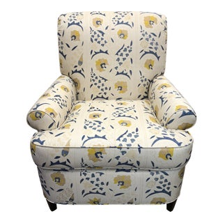 """Contemporary Custom Club Chair Upholstered in Robert Kime """"Susani"""" Fabric For Sale"""