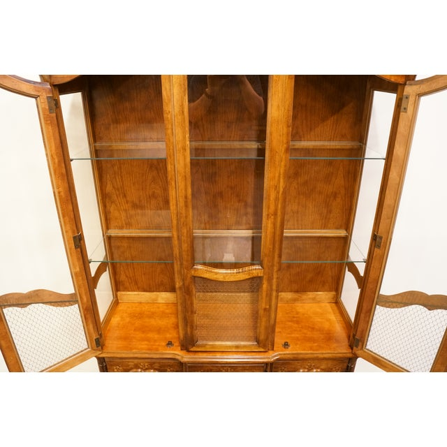 Late 20th Century 20th Century French Country Stanley Furniture Fleur De Bois China Cabinet For Sale - Image 5 of 13