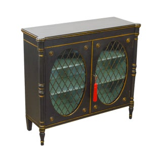 Regency Style Vintage Black & Gold 2 Door Console Cabinet Bookcase