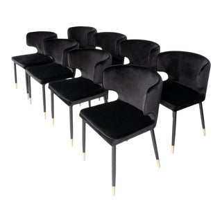 Modern Kayla Upholstered Dining Chairs - Set of 8 For Sale