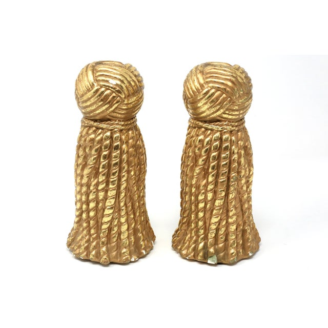 Plaster Vintage Gold Rope and Tassel Candlesticks For Sale - Image 7 of 10