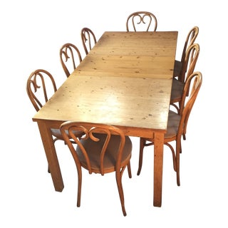 Traditional Pine Dining Table & Bentwood Chairs - Set of 9