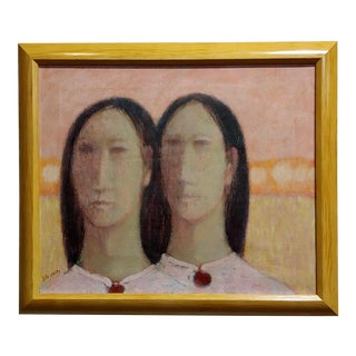 """1962 """"Twin Sisters"""" Figural Modernism Oil Painting by Richard Haines For Sale"""