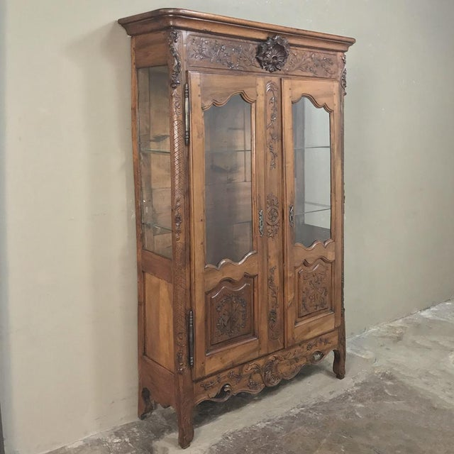 19th Century Country French Provincial Fruitwood Vitrine ~ Bookcase is a delightful example of aged fruitwood and rural...