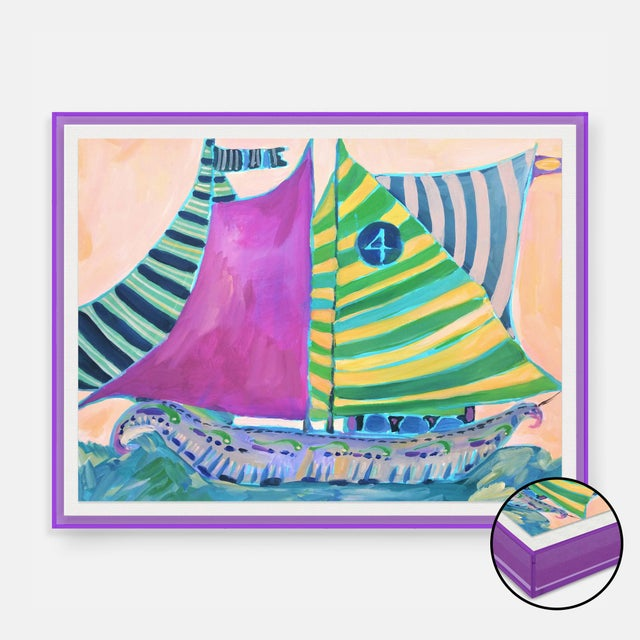 SB Staniel Cay by Lulu DK in Dark Purple Transparent Acrylic Shadowbox, Medium Art Print For Sale - Image 4 of 4