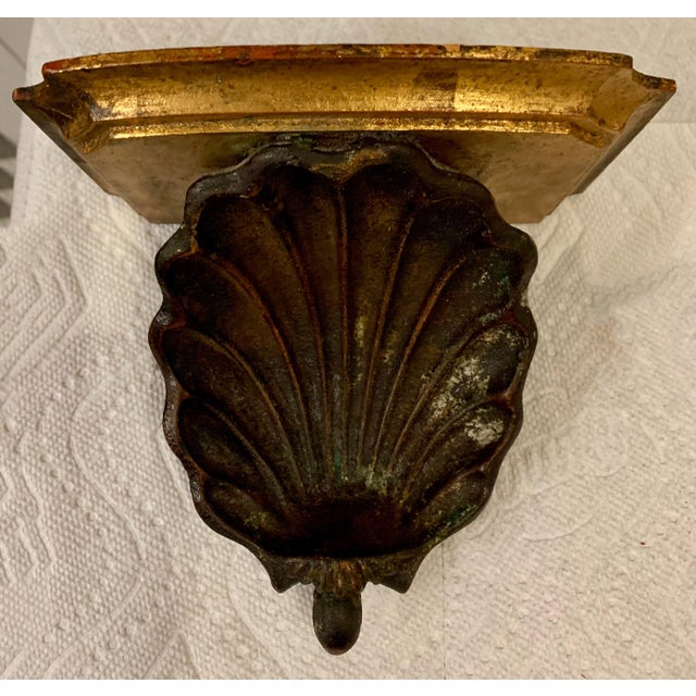 Hollywood Regency Palladio Giltwood Shell Wall Brackets- a Pair For Sale In Atlanta - Image 6 of 7