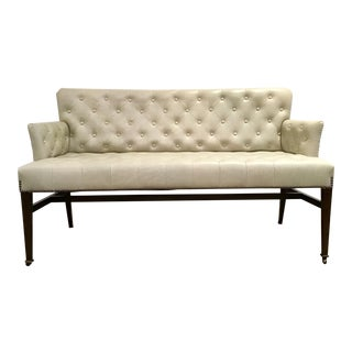 Global View Transitional Gray Tufted Leather Loveseat For Sale