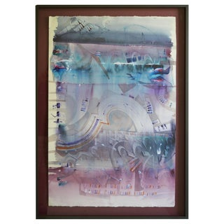 Rhythmic Abstract Watercolor By Barry Bleach For Sale