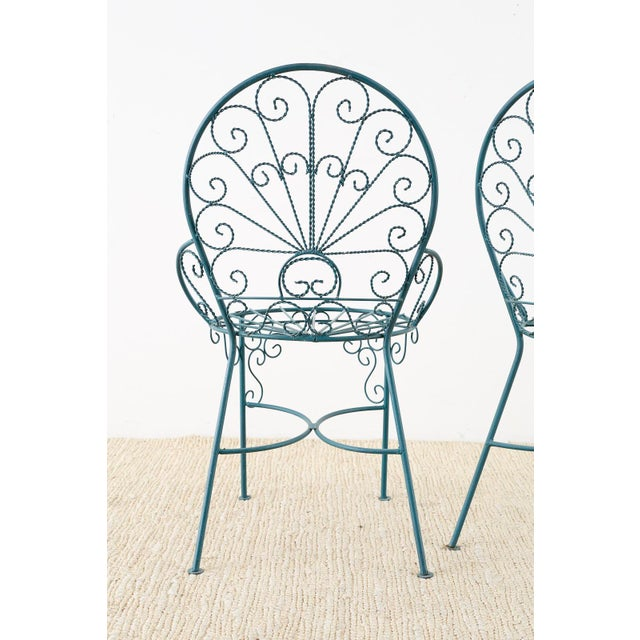 Pair of Salterini Style Iron Garden Patio Chairs For Sale - Image 12 of 13
