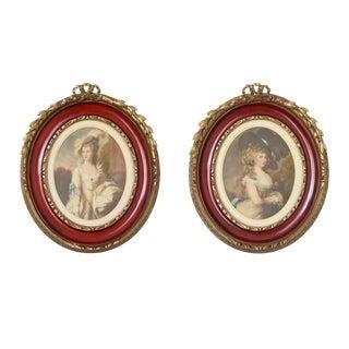 Vintage 18th Century Gilt Framed Portraits - a Pair