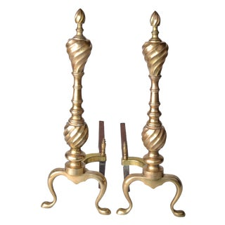 Pair of Solid Brass Andirons For Sale