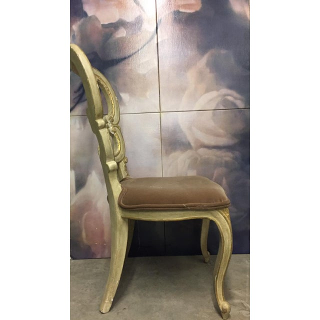 The School of Paris White Carved Beige Velvet Seat Chair For Sale - Image 3 of 5