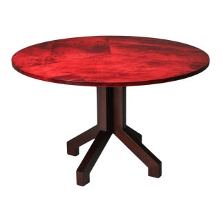 Aldo Tura Red Parchment and Mahogany Table - 1960's For Sale