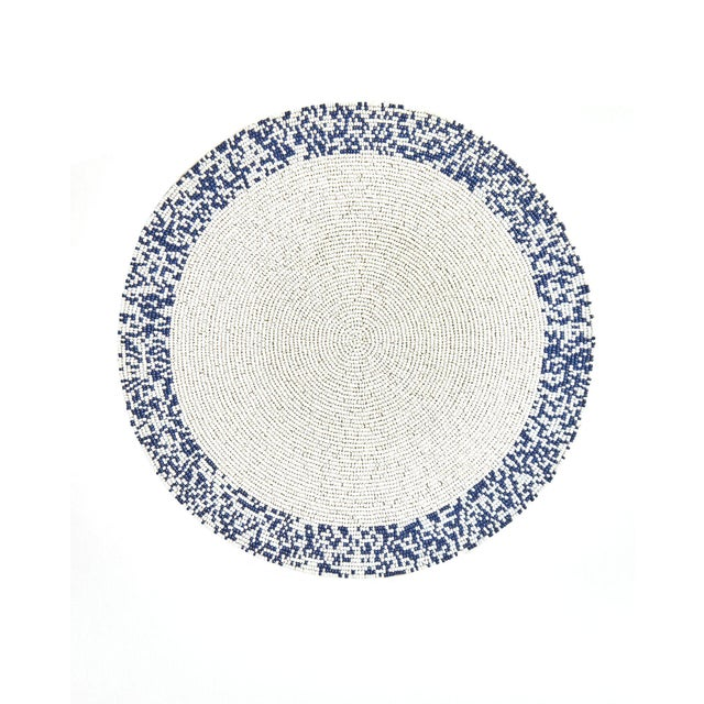 Contemporary Navy & White Splatter Placemat For Sale - Image 3 of 3