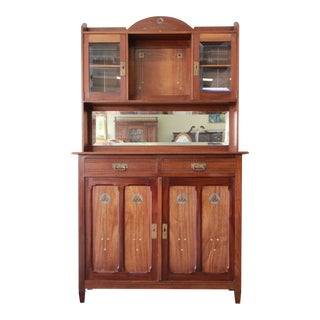 Austrian Arts & Crafts Sideboard Hutch with Inlaid Brass, Ebony, and Bone
