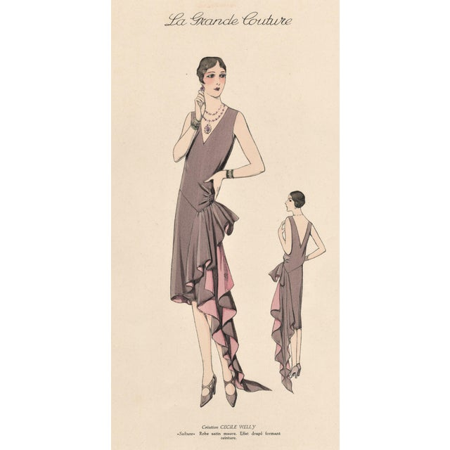 1920 French Art Deco Couture Fashion Print For Sale - Image 4 of 5