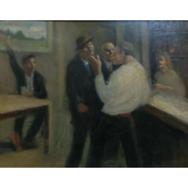 "C.H Kelly - Tavern Scene -American Modernism -Oil painting circa 1930s Oil painting on board -Signed frame size 19 x 24""..."