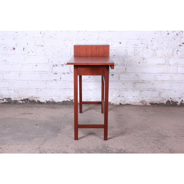 Swedish Modern Petite Teak Vanity Desk or Console Hall Table by Glas & Trä For Sale In South Bend - Image 6 of 11