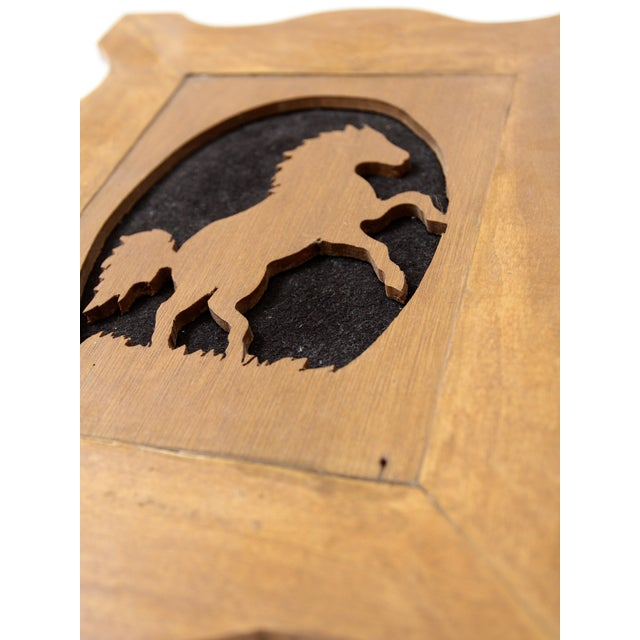 Rustic Vintage Wood Silhouette Horse Art For Sale - Image 3 of 6