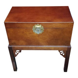 Oriental Teak Box on Stand For Sale