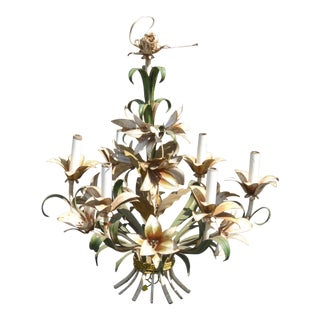 Vintage French Country Italian Tole Floral Hanging Light Chandelier For Sale