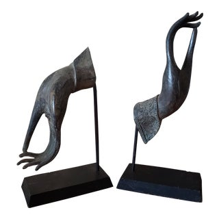 Thai Hands Bookends - a Pair For Sale