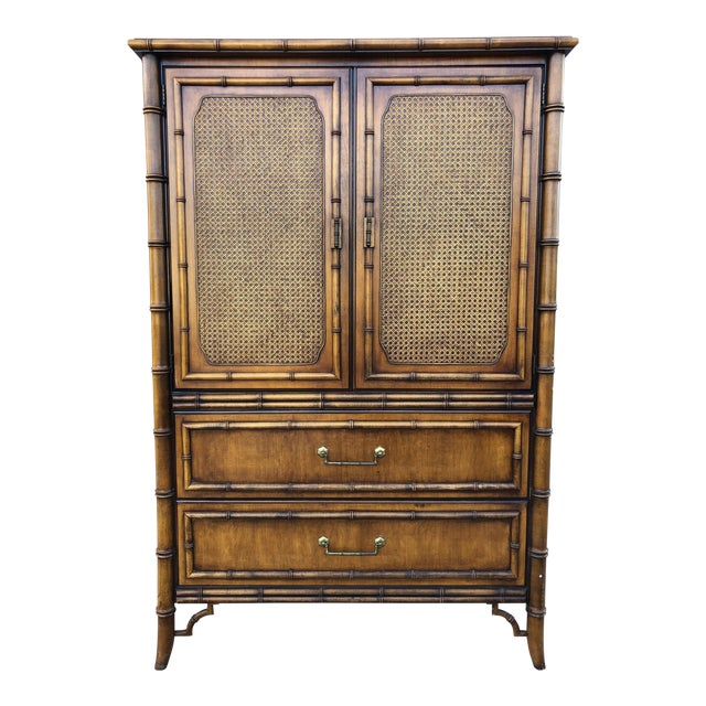 Vintage Dixie Faux Bamboo Tahiti Armoire For Sale