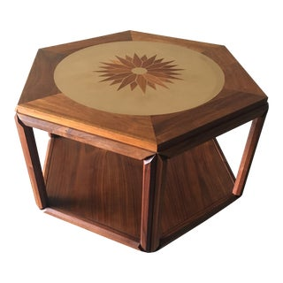 John Keal for Brown Saltman Hexagon Walnut Accent Table
