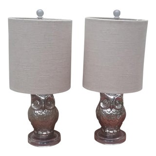 Murcury Glass Lucite Base Owl Lamps - a Pair For Sale
