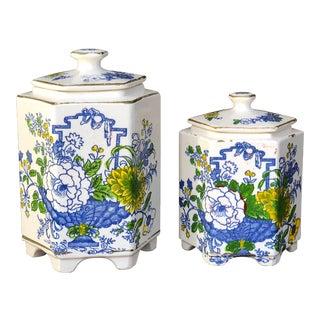 Antique Ceramic Hexagonal Jars - a Pair For Sale