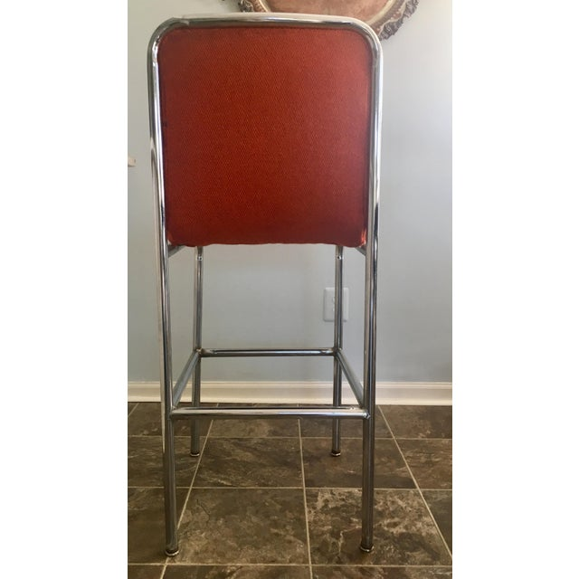 Mid-Century Orange Upholstered Chrome Tube Bar Stools - A Pair For Sale In Detroit - Image 6 of 10
