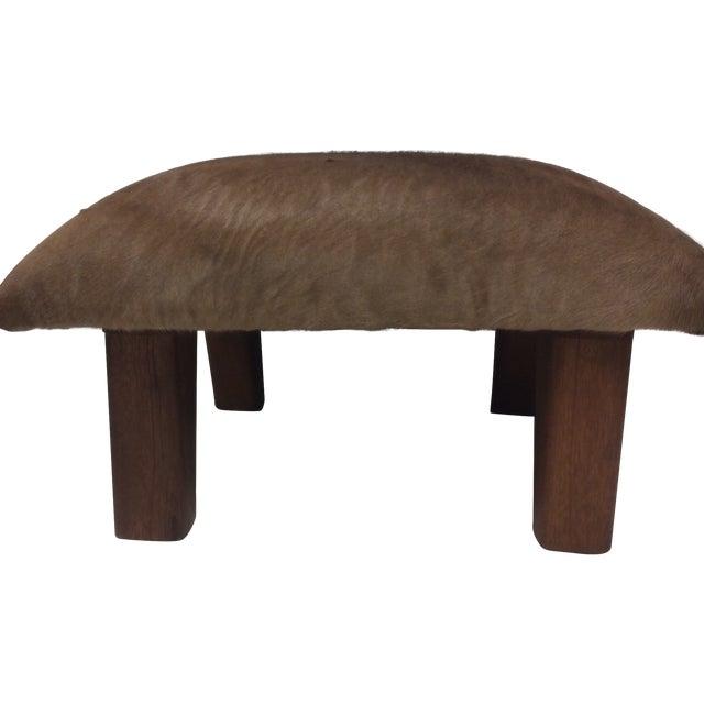 Cowhide Leather & Laurel Wood Footstool - Image 1 of 7