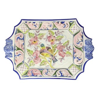 Early 20th Century Pastel Hand-Painted Bird on Floral Branch Majolica Platter For Sale