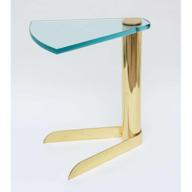 Pace Sculptural Brass & Glass Wedge Side Table - Image 2 of 4