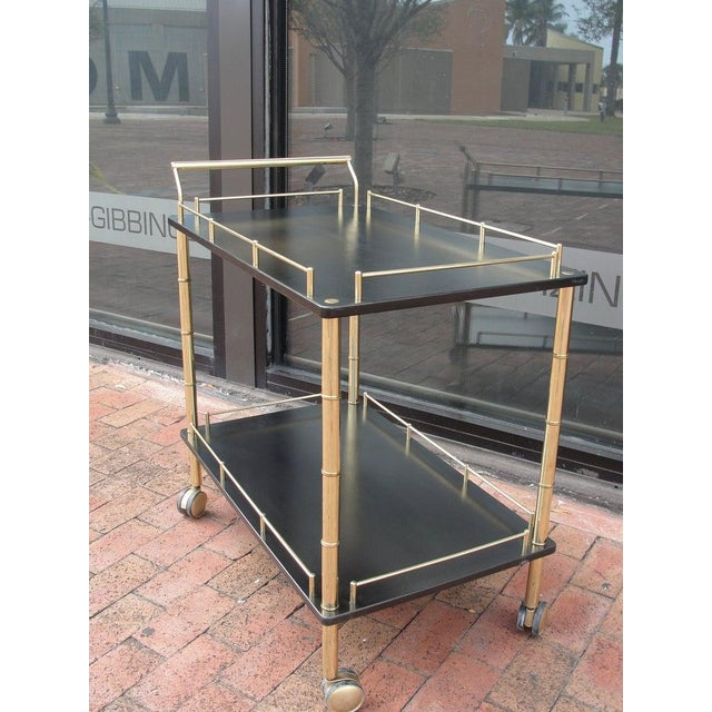 Faux Bamboo Bar Cart For Sale - Image 4 of 5