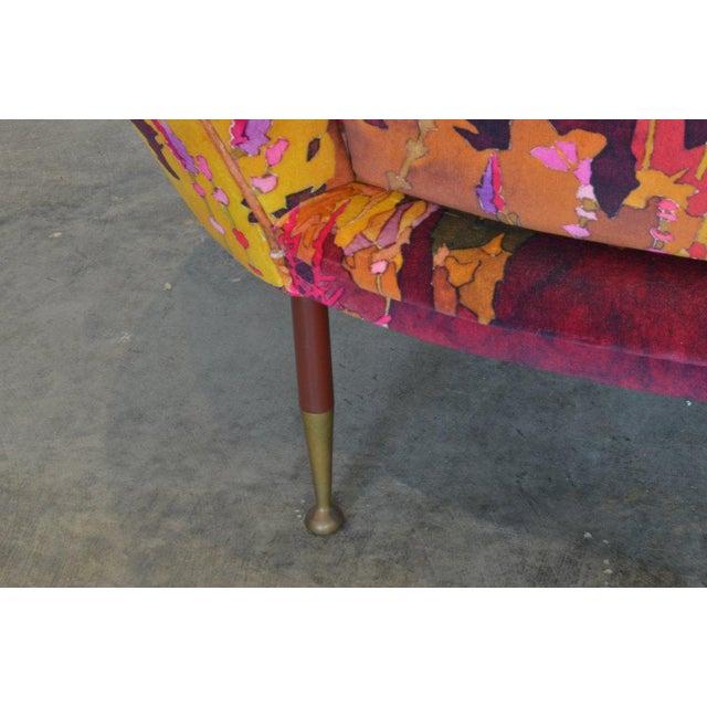 Vintage Italian Settee in Pierre Frey Velvet For Sale - Image 4 of 6