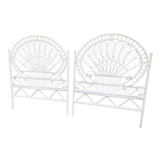 Boho Chic White Peacock Scroll Twin Headboards - a Pair For Sale