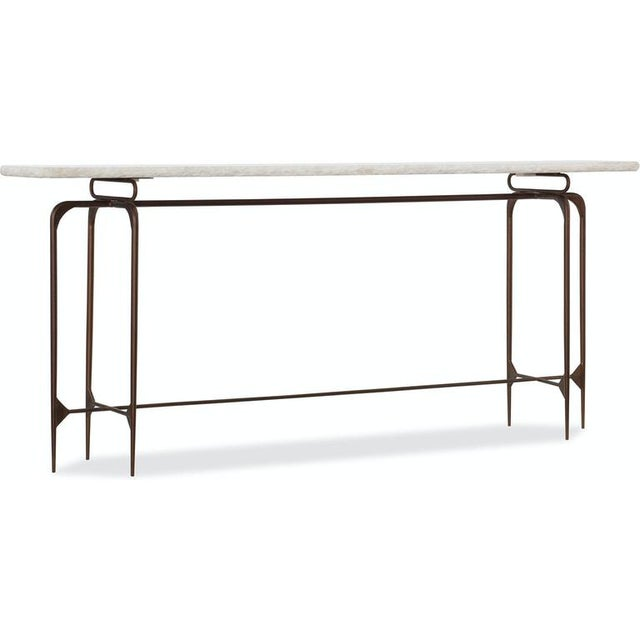 Hooker Furniture Transitional Iron Console With Marble Top For Sale - Image 4 of 4