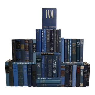 Mid-Century Denim Book Wall - Set of Fifty Decorative Books in Shades of Blue