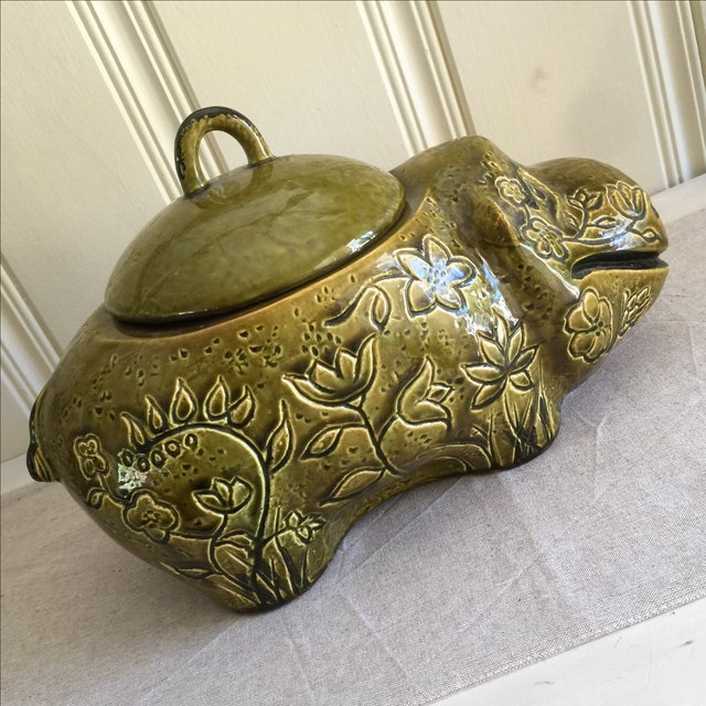 Large Mid-Century Hippo Cookie Jar For Sale - Image 7 of 11