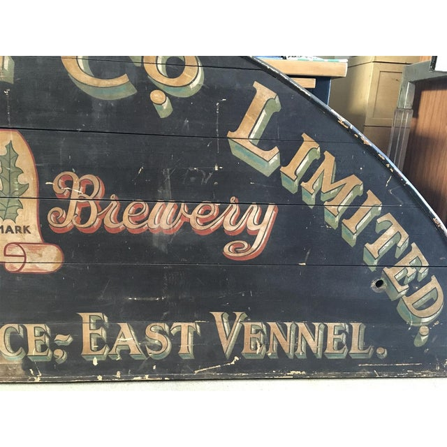 Wood Monumental Hand Painted Antique Thistle Brewery Sign For Sale - Image 7 of 10
