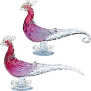 Barbini Murano Cranberry Purple Blue Sommerso Italian Art Glass Bird Sculptures For Sale
