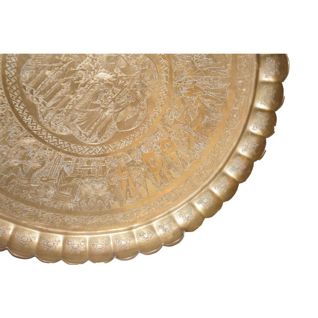Vintage Brass Egyptian Etched Tray - Image 3 of 3