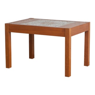 1950's Vintage Teak & Tile Coffee Table For Sale
