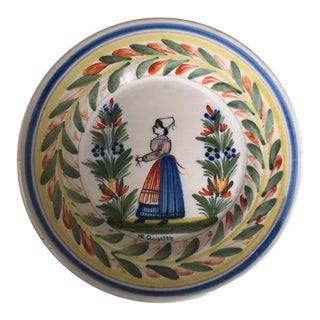 Early 20th Century French Faience-Quimper Hand Painted and Signed Dinner Plate, Breton Woman For Sale