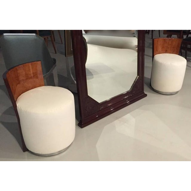 This wonderful French Art Deco stool is stunning. With a curved back and silver base. The wood has been refinished and the...
