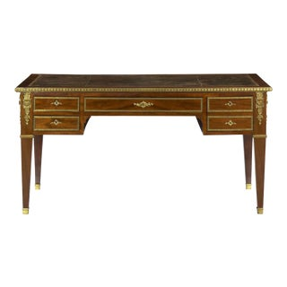 French Neoclassical Antique Writing Desk Bureau Plat, 19th Century For Sale