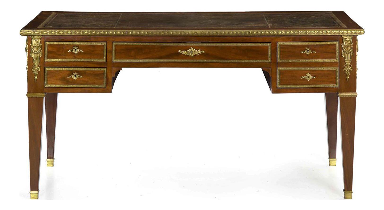 French Neoclassical Antique Writing Desk Bureau Plat, 19th Century
